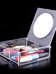 Acrylic Transparent Quadrate 1x2 Cosmetics Storage Box with Mirror Cosmetic Organizer