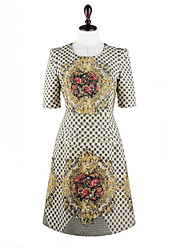 MFL Fixed-Flower Slim Dress (Almond)