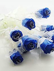 Wedding Décor Dark Blue Artificial Flowers - Set of 12 Flowers