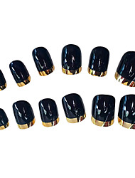 12PCS French Golden Edge Black Design Nail Art Tips With Glu