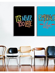 Stretched Canvas Art Words It's Never Too Late And Embrace Life Set of 2