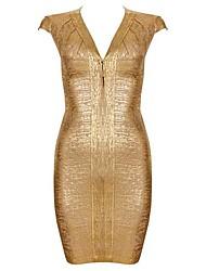 Venta caliente del oro de impresión cap mangas con cuello en V vestido del vendaje atractivo