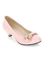 Women's Shoes Leatherette Summer / Fall Heels / Round Toe Heels Dress / Casual / Party & Evening Kitten Heel Rhinestone / BowknotBlack /