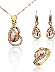 Women's Rose Gold  (Necklaces&Earrings&Rings) Jewelry Set