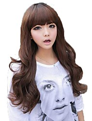 Light Brown Full Bang Synthetic Long Wavy Wigs
