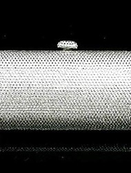 Silver Clear Crystals Purse Clutch Cocktail Boxes Evening Bag