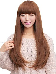 Capless Long Straight Synthetic Full Bang Wigs 3 Colors Available
