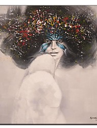 Hand Painted Oil Painting People Woman in Mask