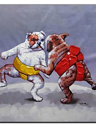 Hand Painted Oil Painting Animal wrestling Dog