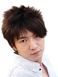 High Quality Synthetic Side Bangs Capless Short Straight Men's Wig(Darkest Brown)