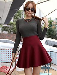 Das mulheres à moda de cintura alta cor sólida Skirt