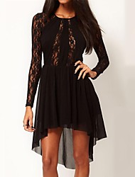 Women's Sexy High Low Hem Long Sleeve See Through Lace Chiffon Skater Dress