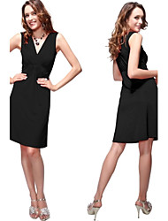 Soft V-neck Black Ruffles Strethy Short Party Dress for Women