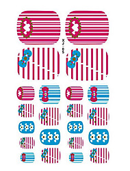 22PCS Warm Lovely Powder Blue Cartoon Nail Art Sticker XJ Sery No.5