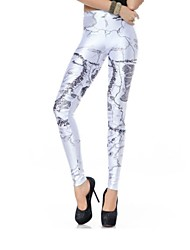 Elonbo Map Style Digital Painting High Women Free Size Waisted Stretchy Tight Leggings