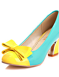 Patent Leather Women's Chunky Heel Heels Pumps/Heels Shoes with Bowknot (More Colors)