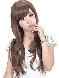 Capless Long Wavy Light Brown Synthetic Stylish Side Bang Wigs