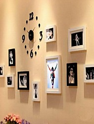White Color Photo Frame Collection Set of 10 with a DIY Wall Clock
