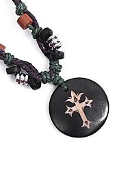 Ethnic Cross Carving (Ox Bone Pendant) Black Fabric Pendant Necklace(1 Pc)