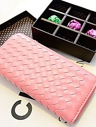 Alinda Frauen Check Pattern Lange Weave Rosa Handtasche