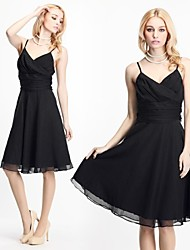 Women's Solid Black Dress , Sexy/Cute Strap/Deep V Sleeveless Ruched/Pleated