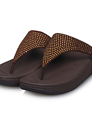 Mujeres MLPS Casual Color sólido Flipflop plana Brida Zapatillas (Brown)