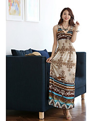 Women's Boho Multi-color Dress , Beach/Casual/Maxi Deep V Sleeveless Ruched