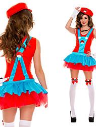 Carnaval Costume de Super Mario Luigi Frères Plombier Rouge Polyester Femmes