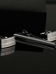 Gift Groomsman Personalized Classic Cufflinks and Tie Clip Sets