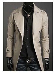 Uyuk Men's Cream Korean Style Long Sleeve Double Breasted Fitted Long Coat