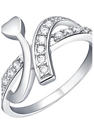 Fashionable Sliver With Cubic Zirconia Line Women's Ring(1 Pc)