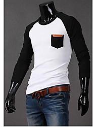 Herren T-shirt-Verziert Freizeit Baumwollmischung Lang-Schwarz / Blau / Grau