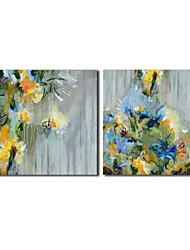 Hand Painted Oil Painting Floral Blue flower with Stretched Frame Set of 2