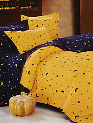 Duvet Cover,4-Piece Modern Style Yellow Moon Pattern