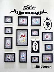 Black Photo Frame Collection Set of 13 with Black Style Wall Sticker