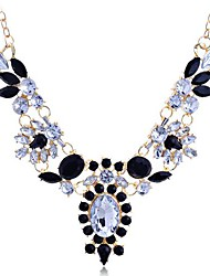 Women's Statement Necklaces Gemstone Gem Resin Alloy Fashion White Black Jewelry Party 1pc