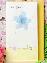 Art Paper Side Fold Greeting Card with Blue Flower and Rhinestone