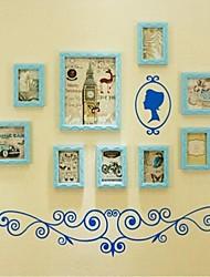Céu Azul Photo Collection Frame Set de 9 com parede azul adesivo