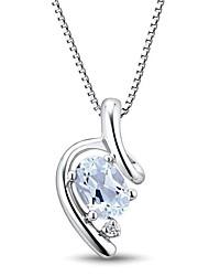 Мода стерлингового серебра с платиновым напылением с аквамарином и бриллиантами Женская ожерелье