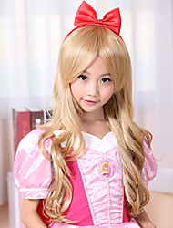 100% Kanekalon Synthetic Light Golden Blonde Long Wavy Children's Wig for Festival Party