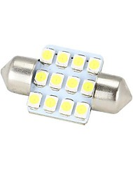 Merdia Festoon 31 milímetros 12x3528SMD LED de luz branca para a Direcção Car Light Bulb - (2 PCS / 12V)
