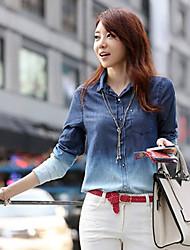 cópia azul camisa das mulheres, manga longa trabalho colarinho casual /