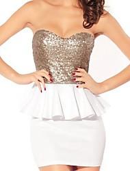 Элегантные блестки вне-плечо мини-платье без бретелек мини-платье