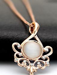 QICAILIRENFANG Women's Fashion Moonstone Alloy Pendant(Gold)