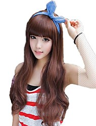 Moda Ondulado Largo del pelo onduladas sintéticas completa de Bang Pelucas 5 colores disponibles