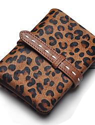 Copie de léopard de crin pochette de cuir véritable de la femme