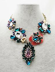 Women's Fashion Resin Stone Glass Gem Diamond Necklace