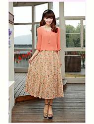 Women's Casual / Day Print Swing Dress,Round Neck Midi Chiffon