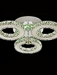 LED de cristal Montagem Embutida, 3 luzes, Transparente Galvanoplastia Aço Inoxidável Modern
