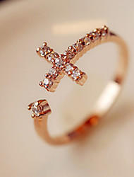 Rhinestone Cross Opening Ring